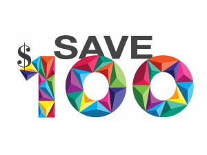 Save $100 in text with multicoloured 100