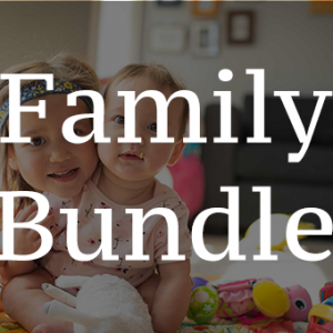 Photo of young sisters playing with toys on floor with text Family Bundle