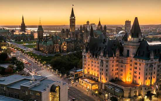 Aerial view of Ottawa city scape at sunset