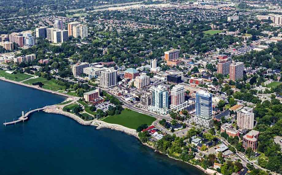 Aerial view of Burlington waterfront and downtown