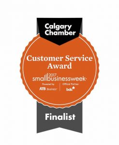 Customer service award badge for 2017 Small business Week by Calgary Chamber of Commerce