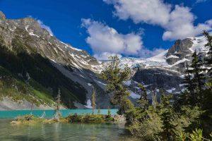 Mountain glacier overlooking lake with native vegetation