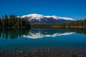 Mountain reflected in lake on a clear day with blue skies