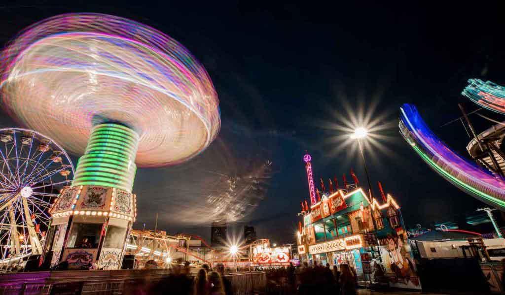 Long exposure of fairground at night